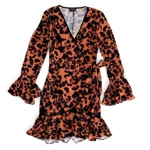 BEBE Women's Dress Wrap Animal Cheetah Print 0